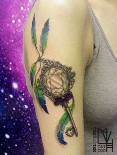 Diamond key feathers tattoo. Done by Mel van Hel, Lingen (Germany)