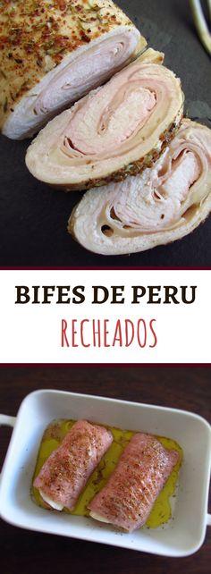 Bifes de peru recheados | Food From Portugal. Se gosta de peru vai adorar esta receita de bifes de peru recheados com fiambre e queijo! É uma receita diferente, muito fácil de preparar e com excelente apresentação! Bom apetite!!! #bife #peru #receita