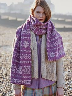 Oak Scarf from Windswept by Marie Wallin - Marie's first exclusive collection, Windswept is a celebration of traditional fairisle and cable patterning with a hint of crochet | English Yarns