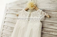 Boho Beach Lace Cap Sleeves Ivory Chiffon Flower Girl Dress --- Misdress.com