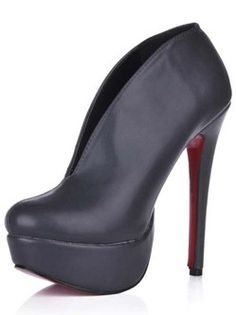 Heel Height Platform Black PU Red Bottom Shoes Highheels