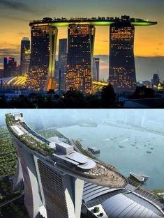 Marina Bay Sands Hotel in Singapore. I can't wait to go here! This place is Beyond Amazing! The swimming pool is on the top level overlooking the city and the bay. You can pay to take tour of the top level with gardens and pool.