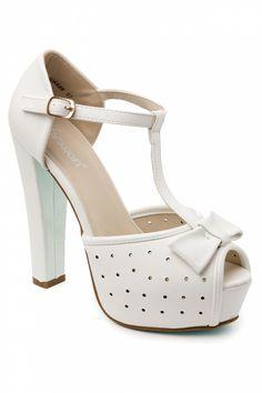 So Vintage - 50s T-Strap Bow Plateau peeptoe pumps sandals in White
