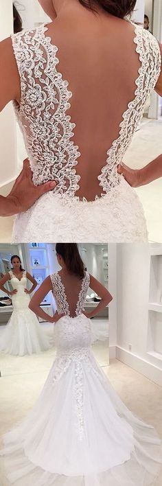 Mermaid Wedding Dresses Straps Sweep Train Appliques Sexy Bridal Gown #annapromdress #weddingdress #wedding #bridalgown #BridalGowns #cheapweddingdress #fashion #style #dance #bridal