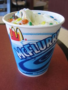 McDonald's Restaurant : McDonald's McFlurry and homemade soft serve ice cream.   Ingredients  1 cup half & half  2 tablespoons sugar  1/2 teaspoon vanilla