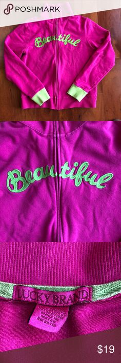 """Lucky Brand Full Zip Sweatshirt, Pink and Green, L Lucky Brand Jeans Full Zip Sweatshirt, Size Large. This sweatshirt features the word """" Beautiful"""" in green across the front of the jacket. Color of jacket is bright pink. Used. Lucky Brand Tops Sweatshirts & Hoodies"""
