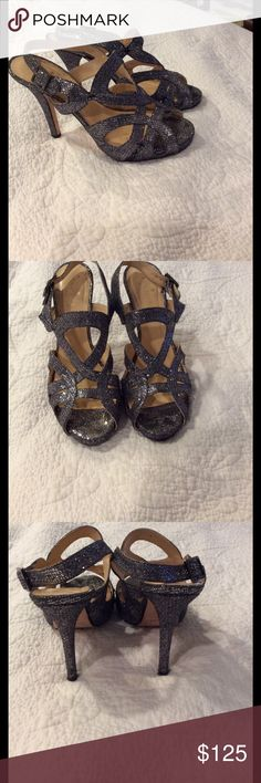 Kate Spade heels Silver glittery beautiful heels- worn twice! Great dressed up or worn with jeans. Made in Italy kate spade Shoes Heels