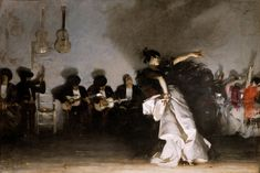 John Singer Sargent's first masterpiece, El Jaleo, 1880 (Isabella Stewart Gardner Museum, Boston). Sargent is known for his portraits of the well-to-do set but he was also a painter with an incredible sense of movement and rhythm. John Singer Sargent, Spanish Gypsy, Spanish Art, Gardner Museum, Dark Backgrounds, Oil Painting On Canvas, Real People, Painting Techniques, Les Oeuvres