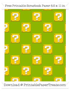 Free Apple Green Large Mario Question Box Pattern Paper - Super Mario Bros