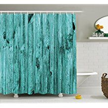 Turquoise Decor Shower Curtain Set By Ambesonne, Wall Of Turquoise Wooden Texture Background Antique Timber Furniture Artful Print, Bathroom Accessories, 69W X 70L Inches, Blue