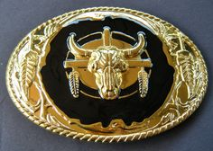 GOLDEN WESTERN STEER COUNTRY COWBOY RODEO COOL BIG BELT BUCKLE BELTS BUCKLES