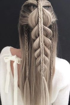 unique wedding hairstyles half up half down for long hair with braids nstark #weddinghairstyles