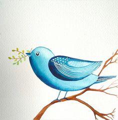 Blue Bird / Nature / Original Watercolor Painting by sublimecolors