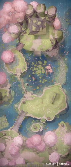 Sakura Temple - DnD Battlemaps - Home Hub Dnd World Map, Fantasy World Map, Fantasy City, Fantasy Places, Dungeons And Dragons Homebrew, D&d Dungeons And Dragons, Pen & Paper, Rifle Paper, Rpg Wallpaper