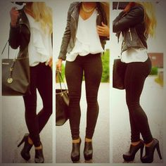 Leggings and black booties with black leather jacket ~ love