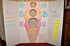 Ice Cream Message Party Club- use a tri-fold board to make a bean bag toss game! Ice Cream Theme, Ice Cream Day, Ice Cream Games, Bag Toss Game, Ice Cream Social, Rainy Day Activities, Festa Party, School Parties, April Showers