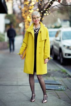 YLF's Angie, Chartreuse Coat worn open