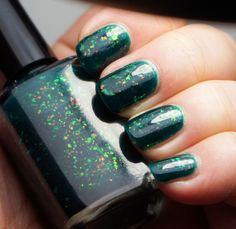 Enchanted Lake - emerald green with mix of colorshifting flakies. MINI. SW. $5 shipped or part of 3 for $10 deal.