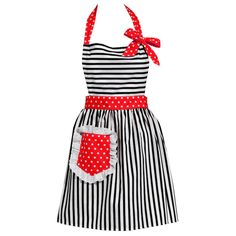 Dorothy Apron in black & white with a splash of red polka dots.