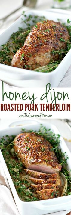 You only need 5 ingredients and about 5 minutes to prepare this tender, juicy, and healthy Honey Dijon Roasted Pork Tenderloin! It might look like a fancy holiday meal, but this clean eating dinner is about to become your go-to weeknight special! Meat Recipes, Cooking Recipes, Healthy Recipes, Fancy Recipes, Recipies, Game Recipes, Mustard Pork Tenderloin, Roasted Pork Tenderloins, Oven Roasted Pork Tenderloin