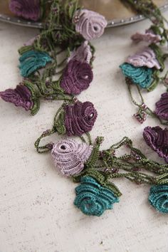 close-up of crocheted motifs