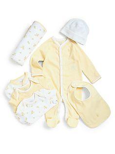 Ralph Lauren Infant's Seven-Piece Coverall, Bodysuit, Hat, Bib & Blanket Set