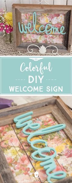 Creative Halloween Costumes - The Best Way To Be Artistic Over A Budget Colorful Diy Welcome Sign Using A Repurposed Frame Diy Home Decor Floral Home Decor Home Decor Colors, Easy Home Decor, Colorful Decor, Cheap Home Decor, Decor Crafts, Diy And Crafts, Diy Spring, Cuadros Diy, Décor Boho