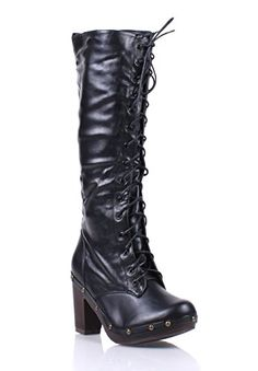Dollhouse Narrow Fashion Rock Faux Leather Lace up Zip Womens Sexy Knee-high Boots Winter Shoes New Without Box (8.5, Black) >>> Click image to review more details.