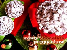 Minty Chocolate Puppy Chow: Crunchy Chex cereal covered in minty chocolate, and dusted with powdered sugar! Perfect for your #Christmas parties!