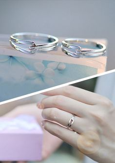 Simple Interlocking Matching Couple Promise Rings Set