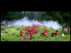 "From ""The Last of the Mohicans."" Aside from being one of the best movie battle scenes ever, I'm pinning it for the music -- one of the most effective uses of music in a film I've come across.  When you're watching the scene, you don't even notice the music at first, but then the climax of the battle action and the climax of the musical theme occur simultaneously and you realize how masterfully it has built."