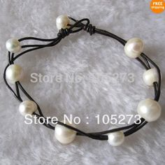 Lovely Pearl Jewelry 8inch AA 6-11MM White Color Natural Freshwater Pearl Bracelet Black Leather Women's Style New Free Shipping