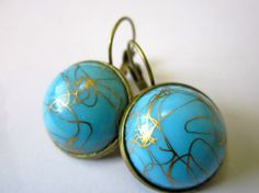 VINTAGE drizzled gold over blue glass earrings
