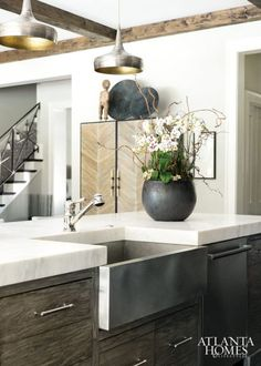 modern country kitchen, timber island cabinetry, stainless steel farmhouse sink