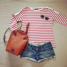 Love breton stripes, don't you? Breton Stripes, Leather Backpack, Tops, Women, Fashion, Moda, Leather Backpacks, Fashion Styles, Fashion Illustrations