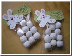 Bunny Tails Easter Treat Bag - she used toffee bon bons, but donut holes would be cute too - bjl