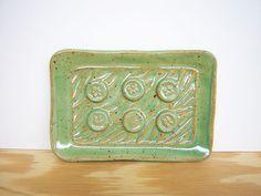 Stamped Ceramic Soap Dish in Spring Green Glaze by dorothydomingo, $12.00