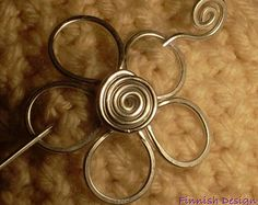 FLOWER BROOCH, Hair Pin or Shawl Pin For Scarf made with Aluminum Wire - A touch of spring to your look