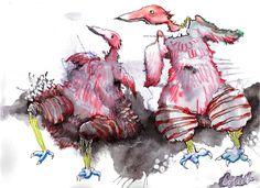 """Pink birds on black cloud / Des oiseaux roses sur un nuage noir, Ink and watercolour / Encre et aquarelle - 9""""x 12"""" / 23 x 30.5 cm Rooster, Paper, Pink, Animals, Pink Bird, Ink, Watercolor Painting, Animales, Animaux"""