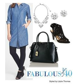 Pair a chambray dress with leggings | Fabulous After 40