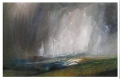 Kristan Baggaley. Rain Clouds, Stanage Edge. Mixed Media on Canvas