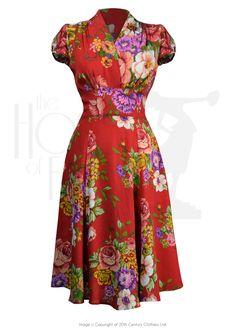 1930s Style Fashion Dresses 30s Ava Tea Dress - Crimson Dreams £135.00 AT vintagedancer.com