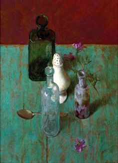 Kenne Gregoire  ....lovely painting because I love old bottles -- worn, clouded yet aglow...seu