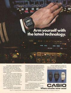 """1985 Casio Digital Calculator Watch Ad """"Arm Yourself"""""""
