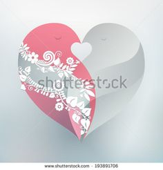 Two kissing love birds form one beautiful heart. Perfect design element for wedding or anniversary. Vector EPS 10 illustration.