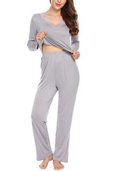 593cad6fb Ekouaer Womens Pajamas VNeck Lace Top Long Cotton Sleepwear SetGrey S ** **  AMAZON BEST BUY ** #MaternitySleepwear