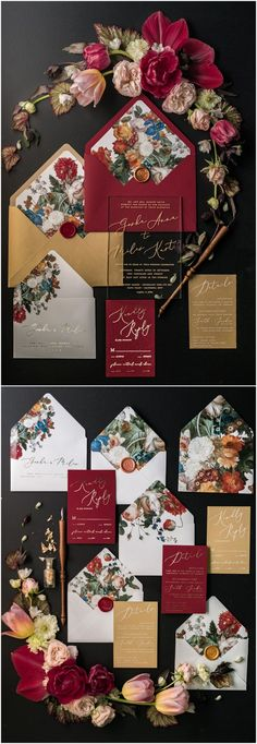 Vintage burgundy and gold wedding invitations 02ACGNZ #weddings #weddingideas #invitations #vintage #vintageweddings ❤️ http://www.deerpearlflowers.com/botanical-wedding-inviations-from-4lovepolkadots/