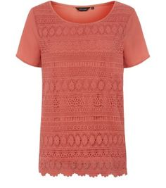 Coral Lace Contrast Sleeve T-Shirt