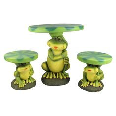 3-Piece Frog with Lily Pad Table & Chair Novelty Garden Patio Furniture Set, Multi