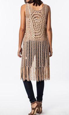 sleeveless long Crochet Fringed Vest: